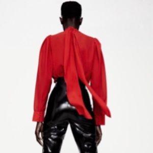 Zara Flowy Lace Detail Red Shirt Size XS